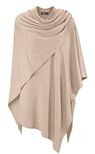Poncho für Damen mit Kaschmir / Cashmere von Kurt Kölln ❤ Modischer All-Rounder für Frauen als Alternative zu einem Strickwaren / Pulli / Strick-Pullover / Cap oder Strick-Jacke hellbeige -
