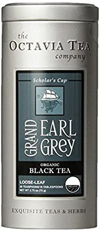 Octavia Tea Grand Earl Grey (Organic Black Tea) Loose Tea, 2.75-Ounce Tins (Pack of 2)