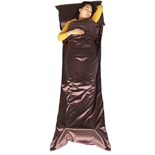 Preisvergleich Produktbild WINOMO Schlafsack Portable Outdoor Envelope Liner Einzelzimmer Schlafcouch für Camping Reisen (Kaffee)