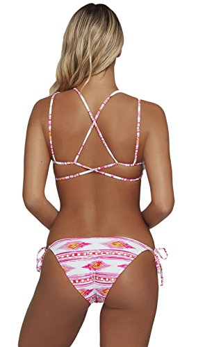 Lukis Damen Blumen Push Up Bikini Set Bademode Strappy Badebekleidung Rosa