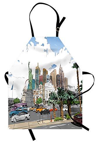 ABAKUHAUS USA Kochschürze, Handgezeichnete Las Vegas City Nevada Street Skizze Gebäude Statue of Liberty Cars Palms, Farbfest Höhenverstellbar Waschbar Klarer Digitaldruck, Mehrfarbig