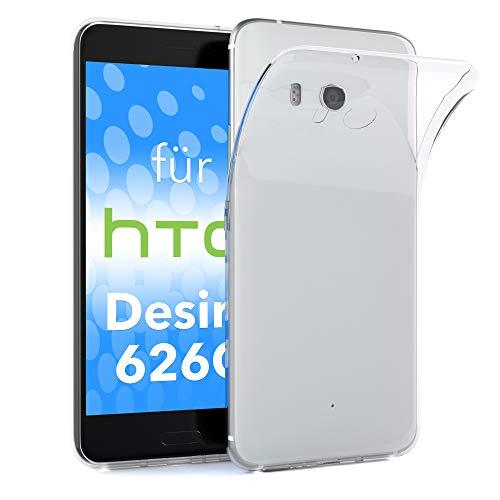EAZY CASE HTC Desire 626G Dual SIM Schutzhülle Silikon, Ultra dünn, Slimcover, Handyhülle, Silikonhülle, Backcover, Durchsichtig, Klar Transparent