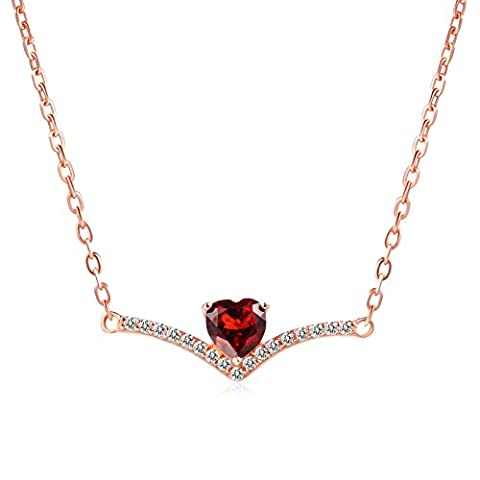 S925 Argent Sterling Or rose -Plaqué Amour Pendentif Collier