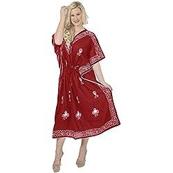 La Leela además de las mujeres de rayón viscosa tamaño largo caftán ropa de dormir con cordón rojo bordado