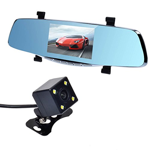 ToguardTM Novatek 96655 HD 1080P Dual-lens Car Dash DVR Cam Black Box Front & Rearview Camera 4-LED Night Vision Reversing Visual with 5-inch Display Screen