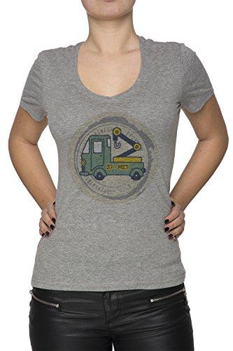 37 Met Donna V-Collo T-shirt Grigio Cotone Maniche Corte Grey Women's V-neck T-shirt