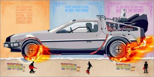 Poster 120 x 60 cm: Zurück in die Zukunft - Delorean Trilogie Alternative Fanart von HDMI2K - hochwertiger Kunstdruck, neues Kunstposter