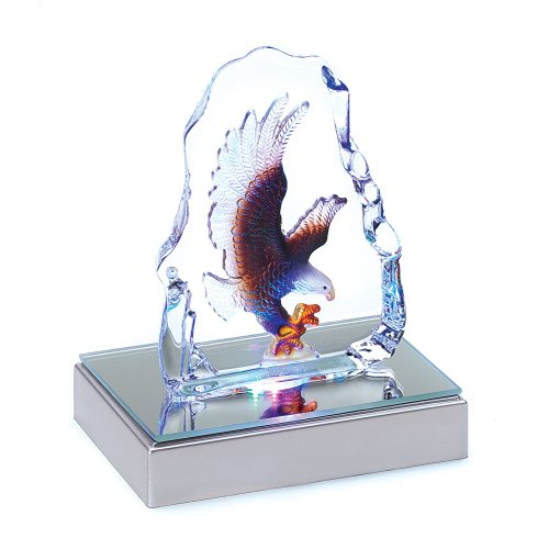 Gifts & Decor Bald Eagle Kristall Figur Skulptur mit LED-Licht
