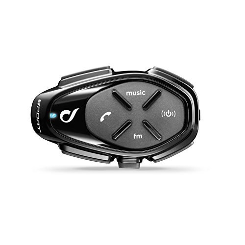 INTERPHONE CellularLine SPORT - Interfono Bluetooth da casco per comunicazione in moto, Fino a 4 motociclisti, Distanza 1Km, Autonomia 20 ore, Radio , MP3, GPS, Impermeabile, Universale - Singolo.