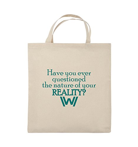 Comedy Bags - Have you ever questioned - WESTWORLD - Jutebeutel - kurze Henkel - 38x42cm - Farbe: Schwarz / Pink Natural / Türkis