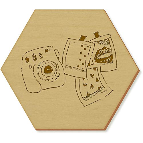Azeeda 6 x 'Polaroid-Set' Sechseck Hölzerne Untersetzer (CR00024687)
