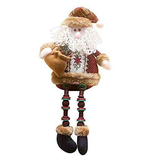 Yolandabecool 1 Pieza de decoración de Navidad muñecas Santa Claus muñeco de Nieve Colgante Adornos para árbol de Navidad Puerta Pared año decoración del hogar