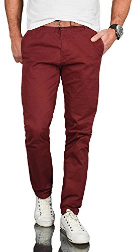 A. Salvarini Herren Designer Business Chino Hose Chinohose Regular Fit AS-095 [AS-095 - Bordeaux - W29 L30]
