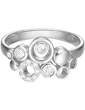 ESPRIT Damen-Ring JW50230 Messing rhodiniert Zirkonia weiß Rundschliff Gr. 53 (16.9)