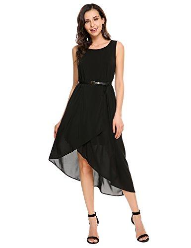 Parabler Damen Ärmellos Sommerkleid Asymmetrischem Strandkleider Festliches Chiffonkleid A-Line Strandkleid knielang Kleid mit Gürtel, Schwarz, EU 36 (Herstellergröße:S) -
