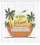 ABAKUHAUS Le Surf Rideau de Douche, Retro Surf Van avec Palmiers Voyage Hippie Thème Soyez Heureux des années 60, Tissu Résistant à l'eau, 175 X 200 cm, Orange
