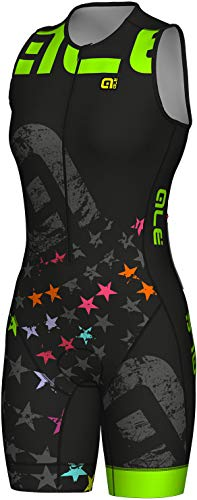 Alé Cycling Long Triathlon Stelle SS Skinsuit Damen Black-Fluo Green Größe XL 2019 Triathlon-Bekleidung