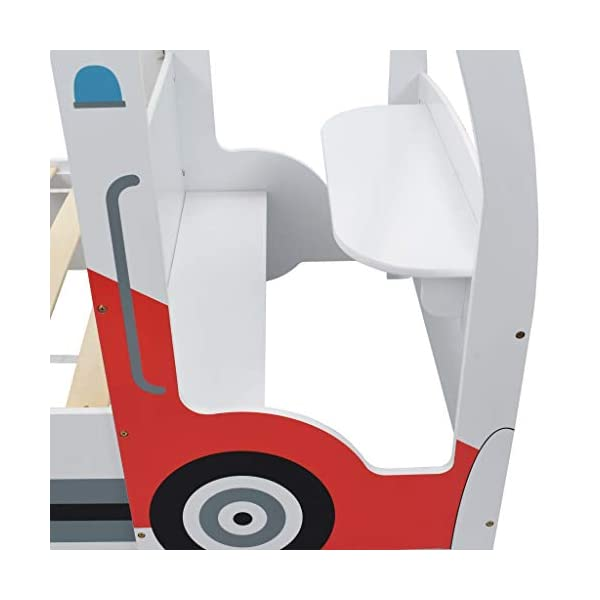 Festnight` Children's Police Car Bed with Desk 90x200 cm Festnight Overall dimensions: 260,5 x 97 x 117 cm (L x W x H) Featuring an appealing police car design and solid construction, this children's bed will be a real eye-catcher in your kid's bedroom. Comfortable, functional, and aesthetically-pleasing, this bed is designed to ensure the utmost comfort and maximum safety for kids. 9