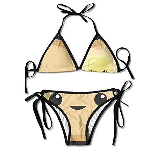 (Women Happy Toast Butter Printing Sexy Two-Piece Bikini Set Beach Bathing Suit)