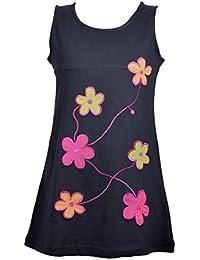 fille manches longues robe avec multicolore broderie de fleurs