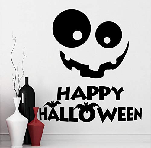 Wiwhy Wall Decal Halloween Vinyl Wall Stickerr Holiday Decor Window Mural Smile Stickerr Halloween Holiday Home Decoration Art 57X63Cm
