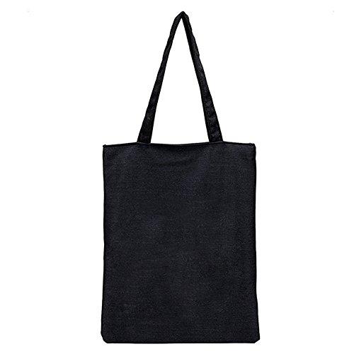 BIGBOBA 1pcs Leinwand Umhängetasche Einfache Handtasche Große Einkaufstasche Öko Tasche Mit Reißverschluss