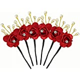 BOXO Set Of 6 Pcs Juda Pins For Wedding Big Juda Pins For Brides Flowers Hair Juda Pins Accessories For Women...