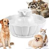 PETAMANIM Katzenbrunnen Keramik Katzentrinkbrunnen 2,5L Trinkbrunnen für Katzen Hunde | Super Leise fließendes Plätschern | Pflegeleicht | mit Ersatzpumpe und oganische Filter