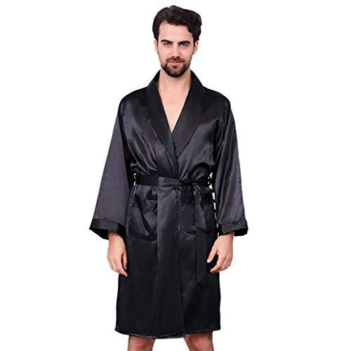 e08400ae314c Caratteristiche ed informazioni su cocd vestaglia kimono uomo pigiama vestaglia  raso manica lunga camicie da notte accappatoio biancheria ...