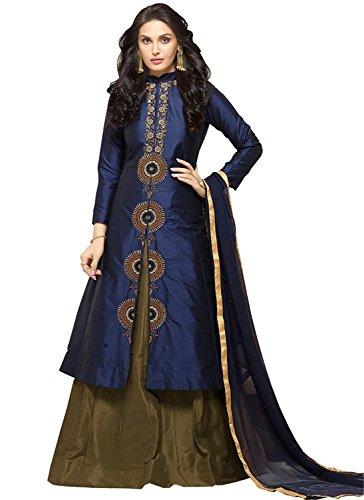 Desney Fashion Women\'s New Dark Blue & Dark Olive Glace Cotton Indo Western Wear