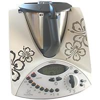 Grafix - Pegatinas de vinilo para Thermomix TM31, diseño floral, color gris oscuro y plateado