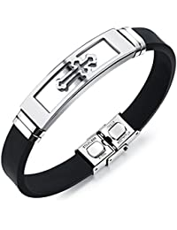 "bigsoho Black Silicone Bangle w/ Stainless Steel Black/Golden/Silvery Cross Pattern Fashion Men Bracelet 7.87"""