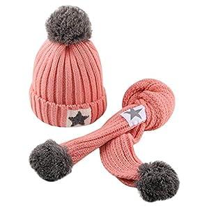PYERJHGMBJN para 2-8 Años Gorra + Bufanda para Bebé Niño Pequeño Niña Y Niño Bebé Sombrero De Punto De Ganchillo De Invierno Beanie Hairball Cap Conjunto De Bufanda 4