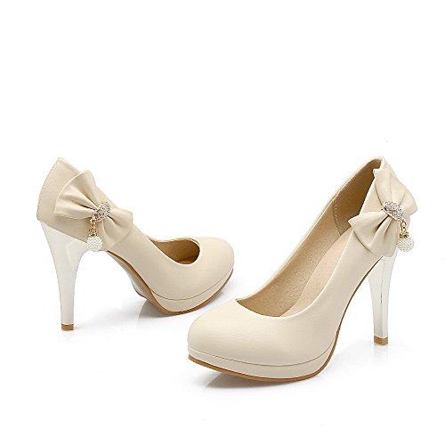 AllhqFashion Femme Tire Rond Stylet Pu Cuir Couleur Unie Chaussures Légeres Beige