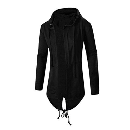 Koly_Uomini Autunno Inverno Media Cardigan con cappuccio mantello cappotto (M, Nero)