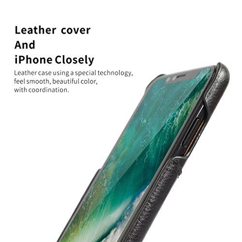 iPhone X Étui, Careynoce Fait Main PU Cuir Protection Coque Housse Case Cover pour Apple iPhone X iPhone 10 (5.8 pouces) avec Carte de Crédit Fentes -- Noir T01