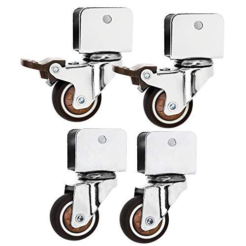 4 Pack 1,5 Zoll leise verschleißfeste hochelastische Bremse Universalrad, Krippe Möbel Rollen Kinderbett Zubehör Schienenrad