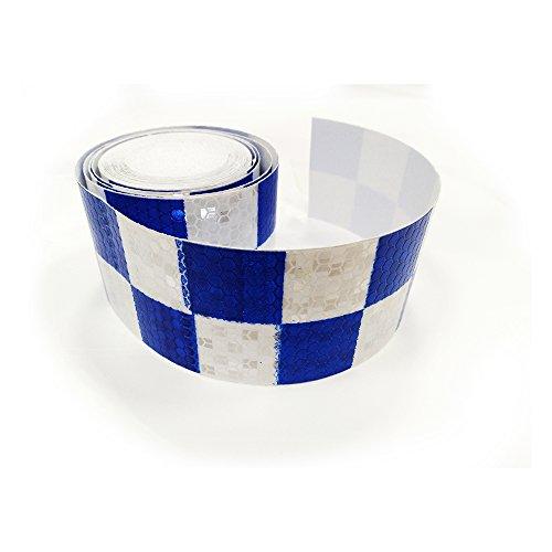 Tuqiang® 300cm × 5cm blu con bianco quadrato riflettente nastro adesivo sicurezza attenzione conspicuity notte striscia riflettente nastro film