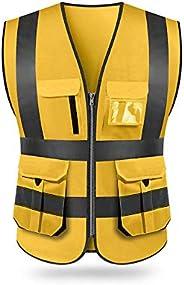 KKmoon SFVest High Visibility Reflective Safety Vest Reflective Vest Multi Pockets Workwear Security Working C