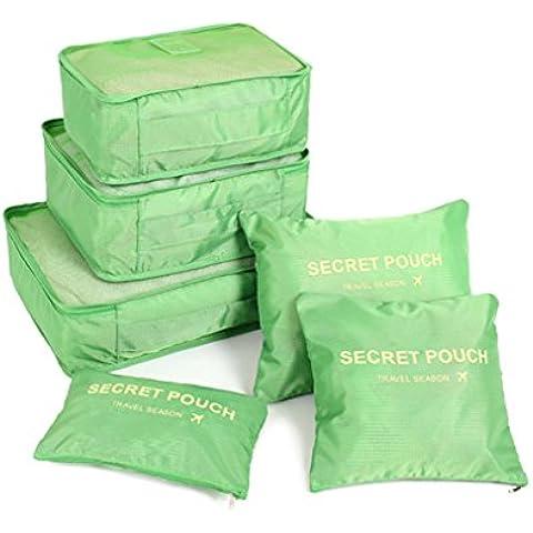 FunYoung Embalaje de viajes Cubos ropa cosmético del almacenaje bolsa de cubitos de equipaje del bolso del organizador de lavandería bolsa de zapatos Bolsa 6 PC / Set