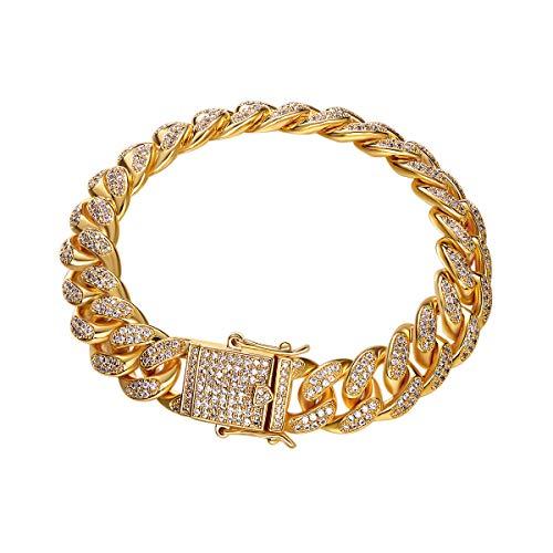 CDE Herren Armband 18k vergoldet Armband Panzerkette Armband für Männer kubanischen Hip Hop Iced-Out Stil Armband mit Geschenkbox, Panzerarmband Modeschmuck für Männer (Gold 7 inch) - Ring-sätze Diamant-hochzeit Gold