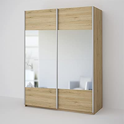 Seattle 2 Door Oak Mirrored Sliding Wardrobe - Oak & Mirror 150CM Wide