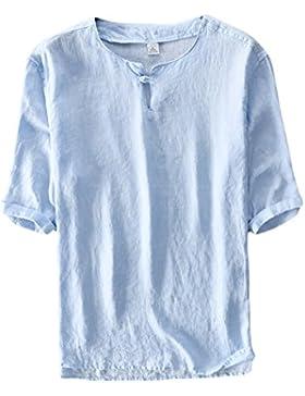 Icegrey Hombre Camisa De Lino De Manga Corta Casual Pullover T-Shirt