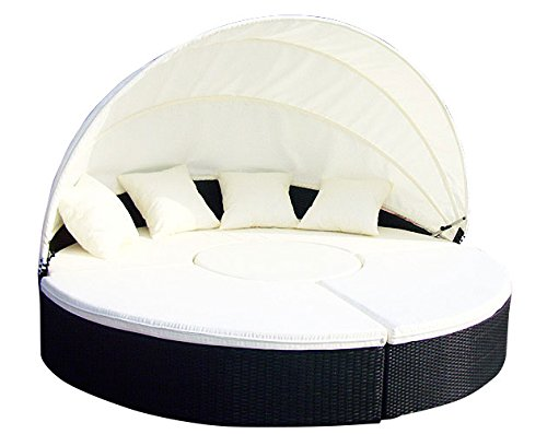 Baidani Gartenmöbel-Sets 10b00002.00001 Designer Rattan Lounge-XXL-Sofa Atlantis, 1 Lounge-Insel, Sonnendach, Sitzazflagen, schwarz