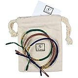 LOKUENCE - Bracciale buddista tibetano portafortuna, bracciale buddista, set di 3 braccialetti tibetani con ebook in omaggio