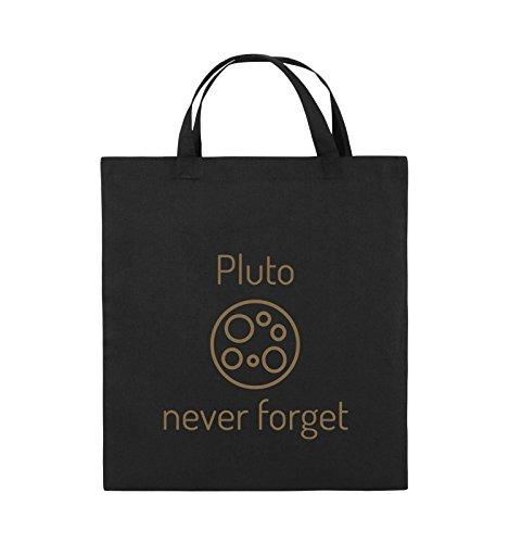 Comedy Bags - Pluto never forget - Jutebeutel - kurze Henkel - 38x42cm - Farbe: Schwarz / Pink Schwarz / Hellbraun
