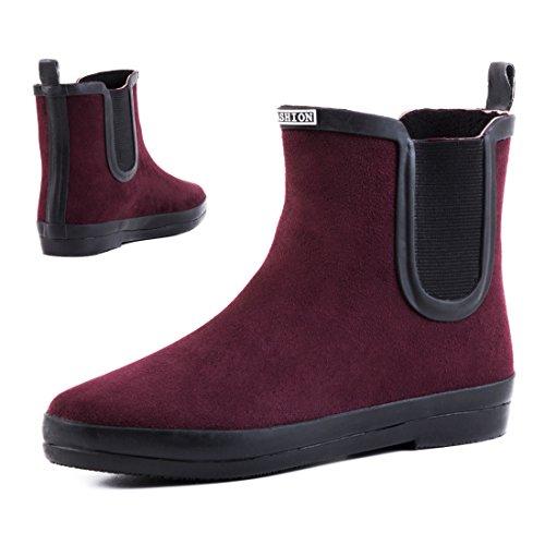 Stylische Damen Schlupf Stiefeletten Chelsea Boots Kurzschaft Schuhe in hochwertiger Lederoptik Weinrot
