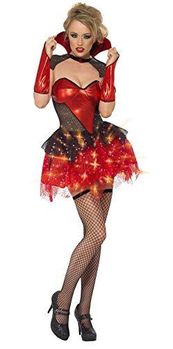 Fever, Damen All That Glitters Vampir Kostüm, Leuchtendes Kleid mit Umhang und Armstulpen, Größe: S, - Vampir Rot Kleid Kostüm