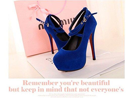 Pumpen-Plattform dünne Fersen 14cm Cross Strap Damenschuhe Fashion High Quality Sexy High Heels Größe 35 bis 40.5 Blau