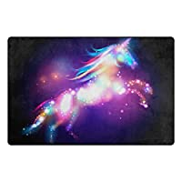 "Bennigiry Soft Unicorn Stars Poster Children Area Rugs 20"" x 31"", Home Decoration Doormat Accent for Living Room Bedroom Kitchen Modern Non-Slip Rugs"